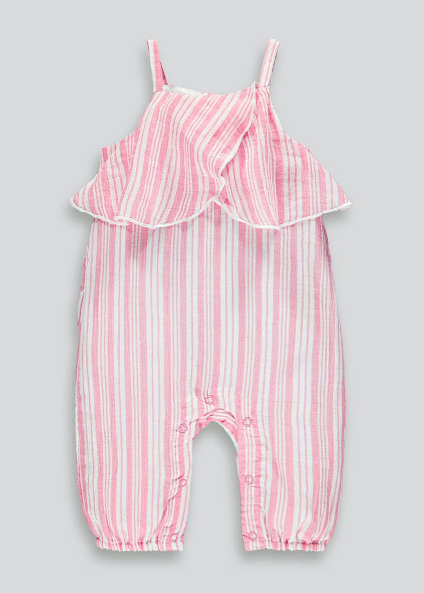 Girls Stripe Frill Romper (Newborn-18mths)