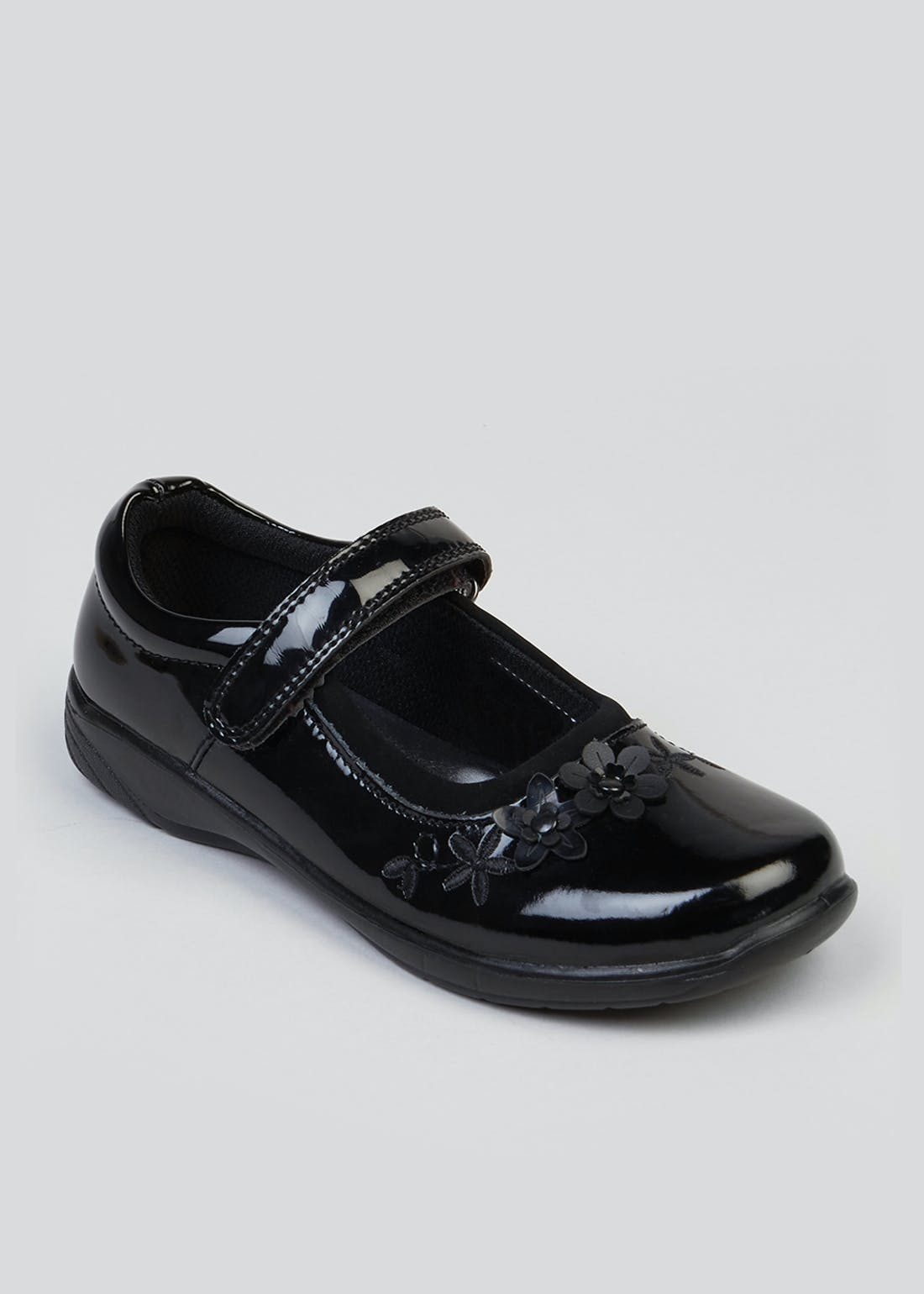 Girls Black Coated Patent Leather School Shoes (Younger 8-Older 3)
