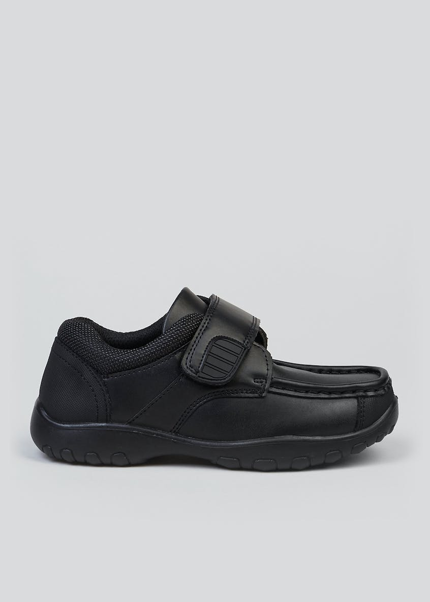 Boys Black Coated Leather School Shoes (Younger 6-Older 6)