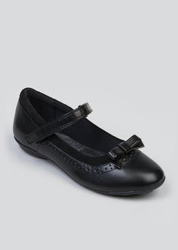 Girls Black Bow Riptape School Shoes