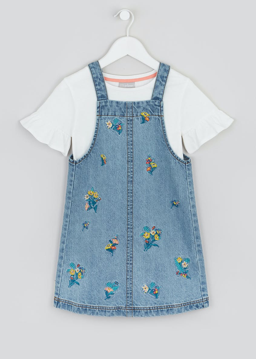 Girls Floral Denim Pinafore Dress & T-Shirt Set (4-13yrs)