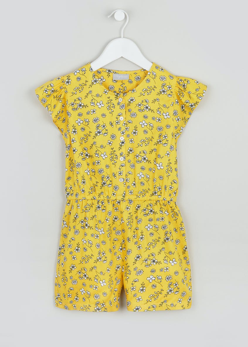 Girls Floral Frill Sleeve Playsuit (4-13yrs)