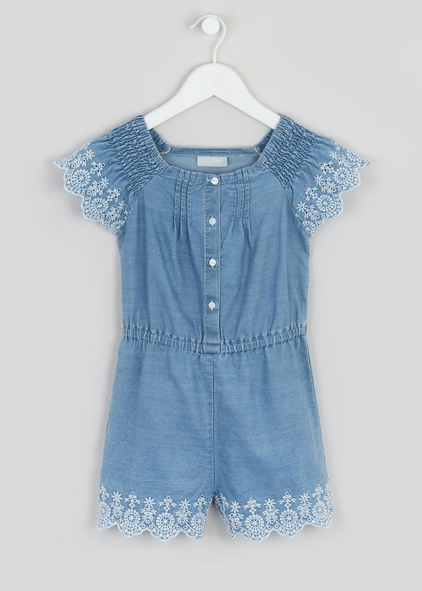 Girls Embroidered Denim Playsuit (4-13yrs)