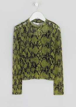 Girls Candy Couture Snake Print Mesh Top (9-16yrs)