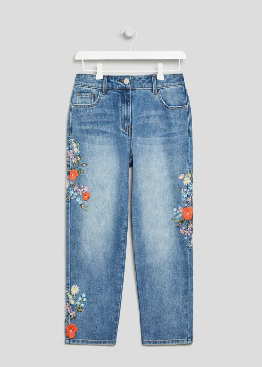 April Floral Embroidered Cropped Jeans
