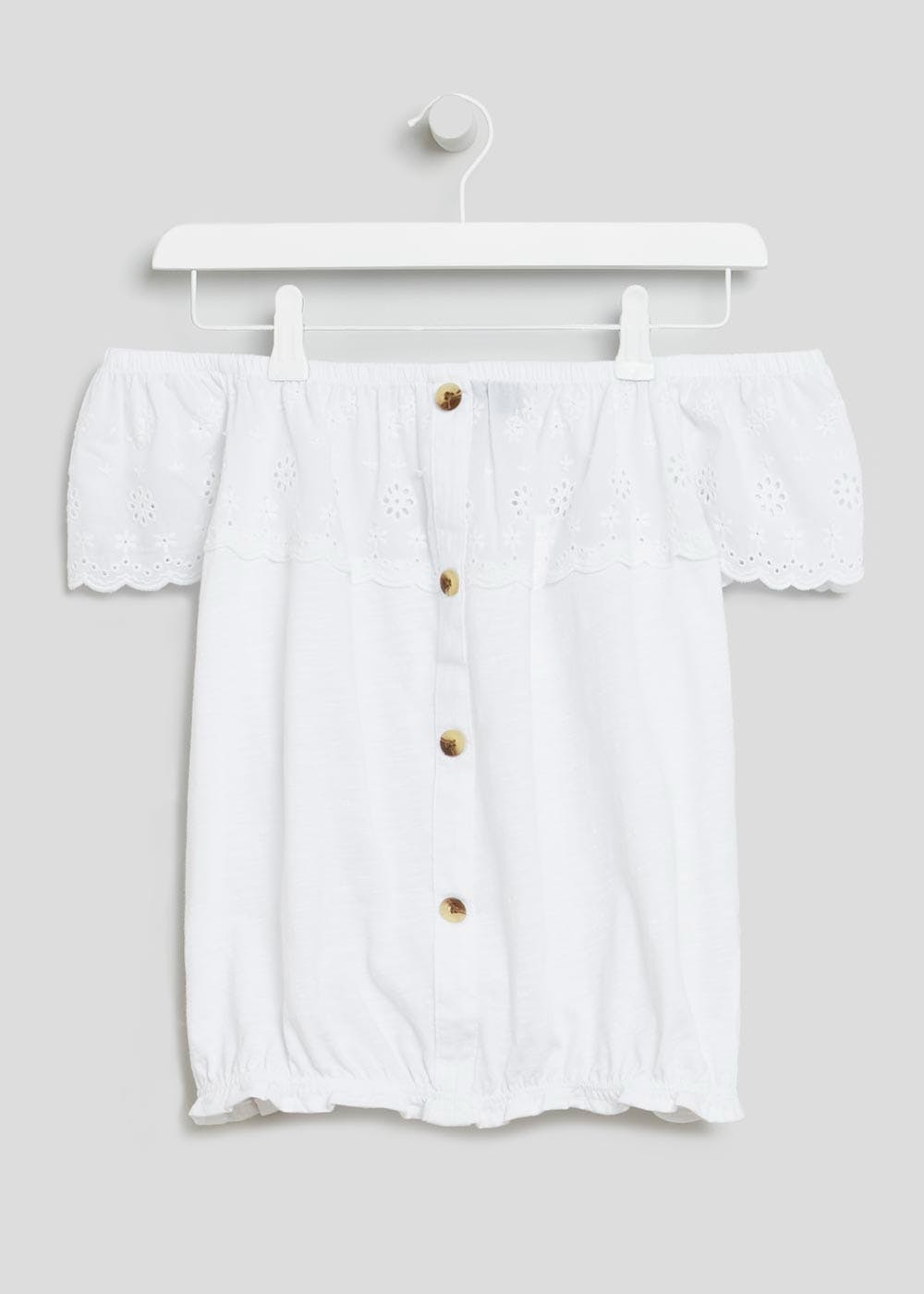 f58813797e0 Papaya Petite Schiffley Button Front Bardot Top – White – Matalan