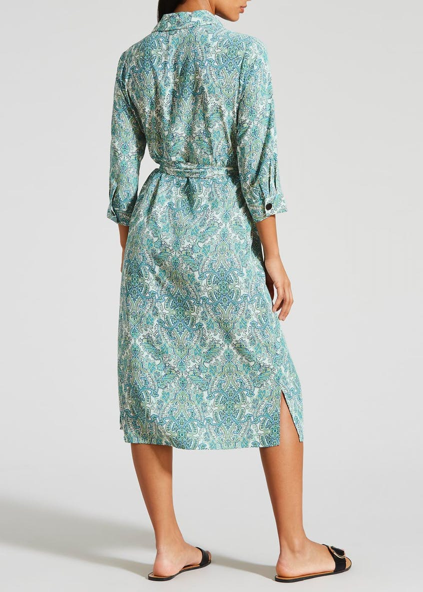 Papaya Petite Paisley Print Midi Shirt Dress