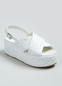 Raffia Cross Strap Wedges