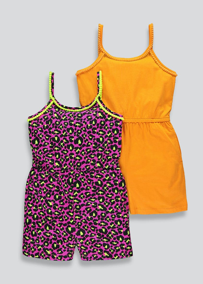 Girls 2 Pack Animal Print Playsuits (4-13yrs)
