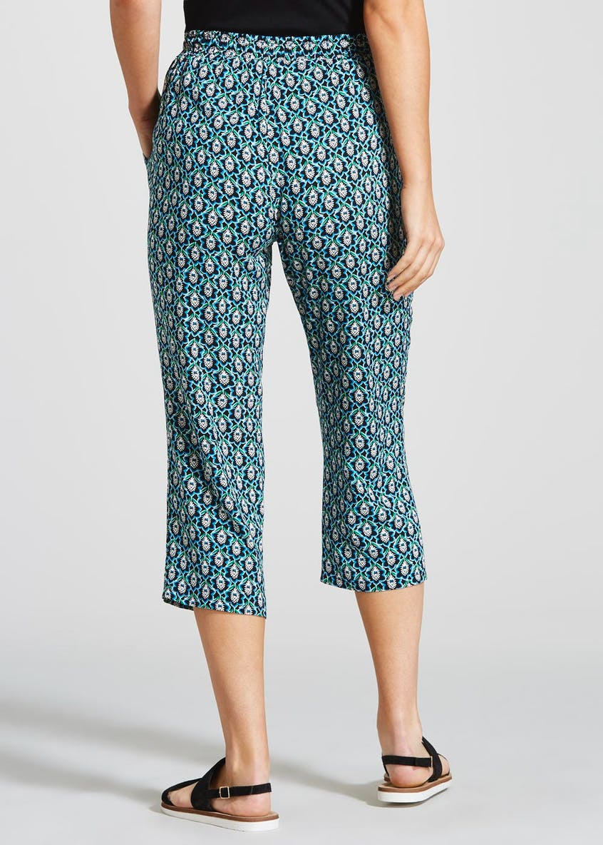 Tile Print Viscose Cropped Trousers
