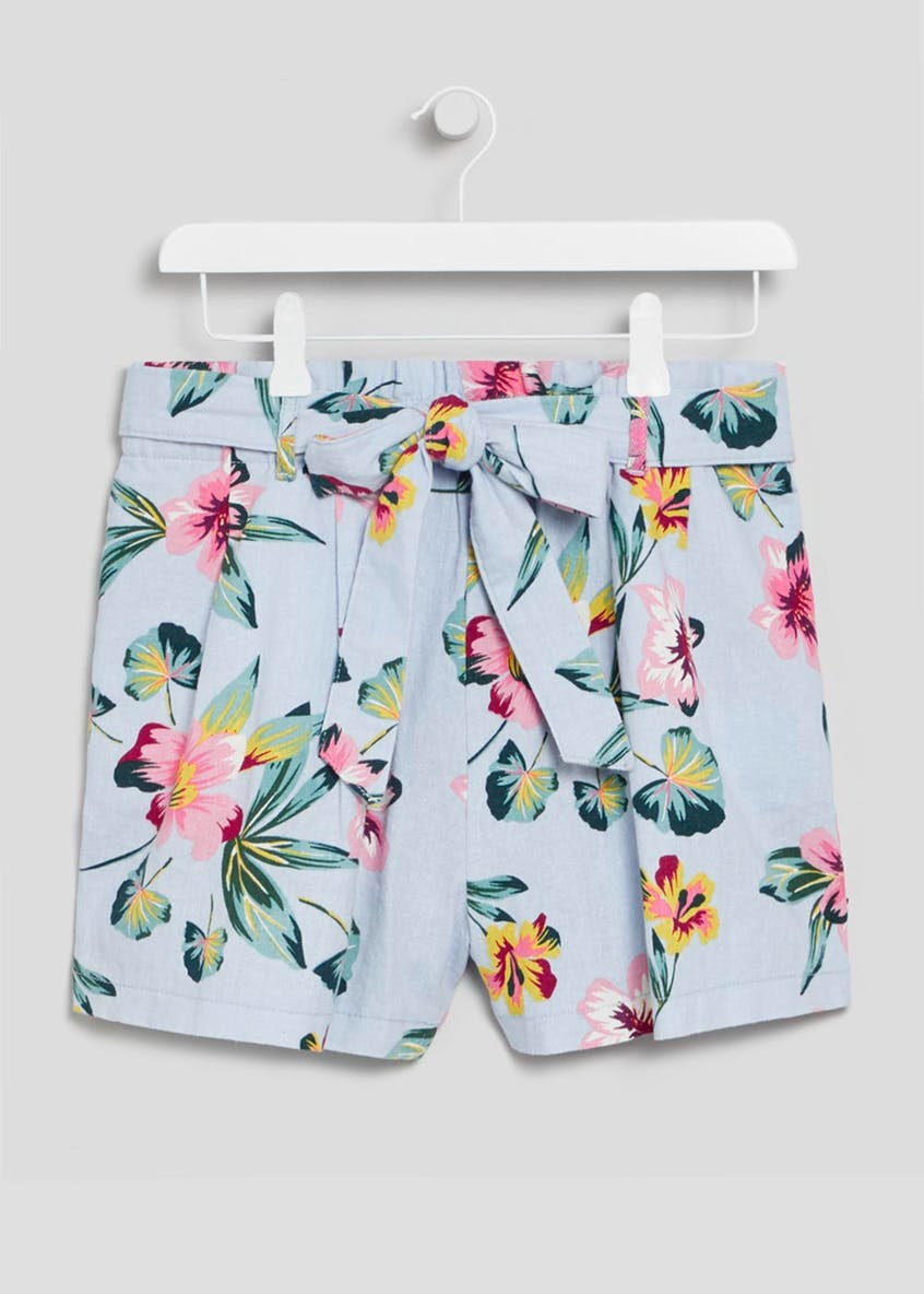 Floral Belted Linen Co-Ord Shorts