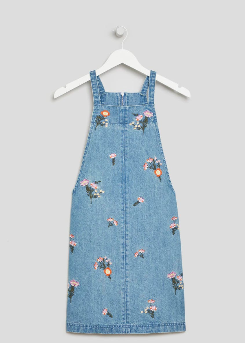 Embroidered Floral Denim Pinafore