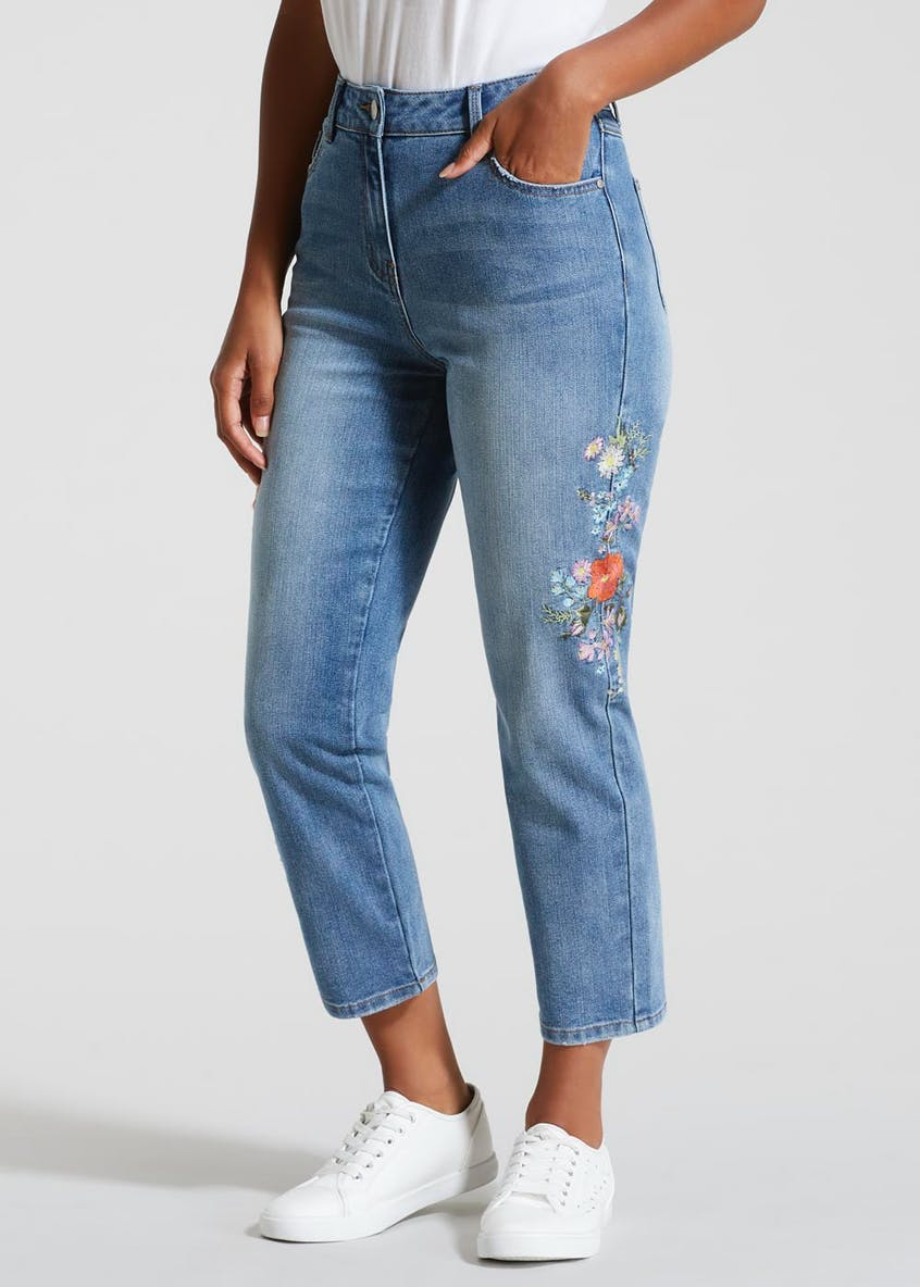 Floral Embroidered Cropped Jeans
