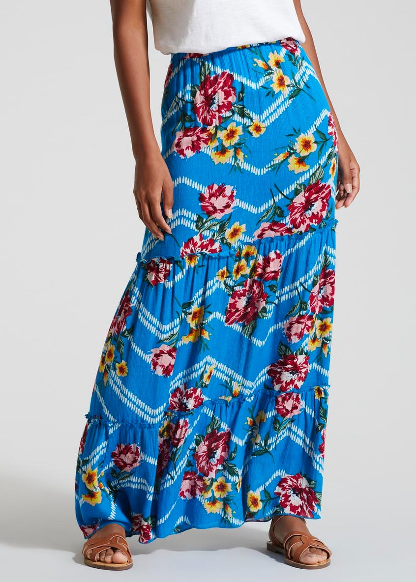 Floral Tiered Crinkle Maxi Skirt