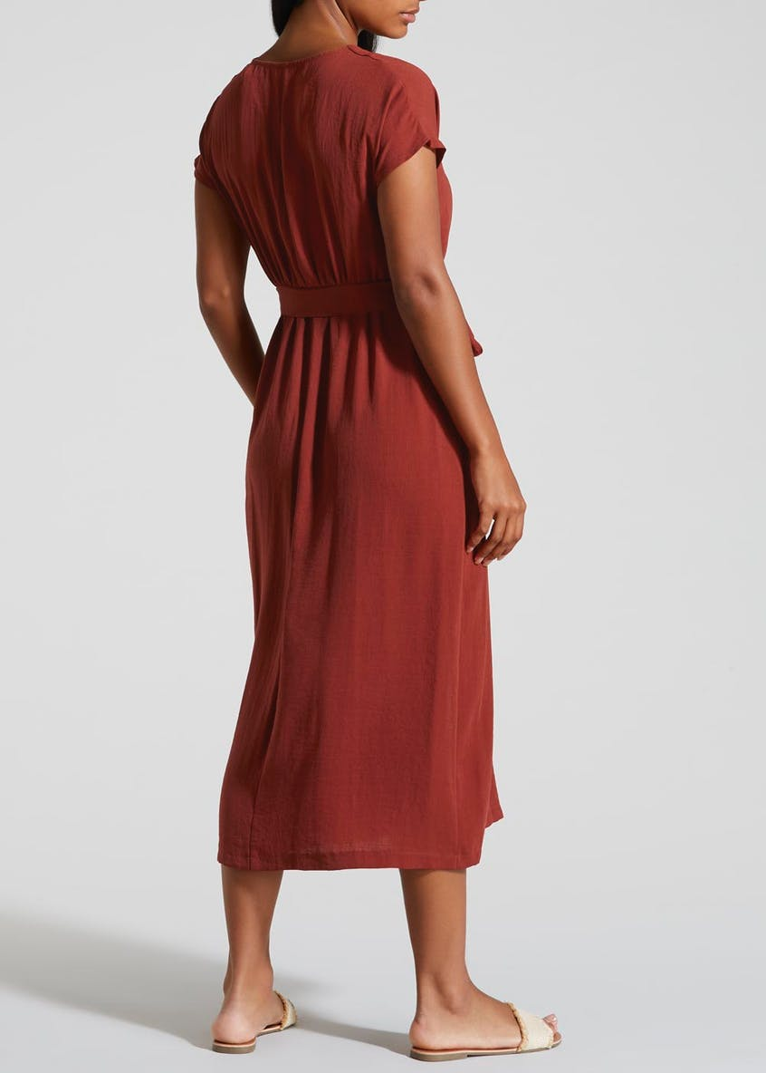 Button Front Midi Shirt Dress