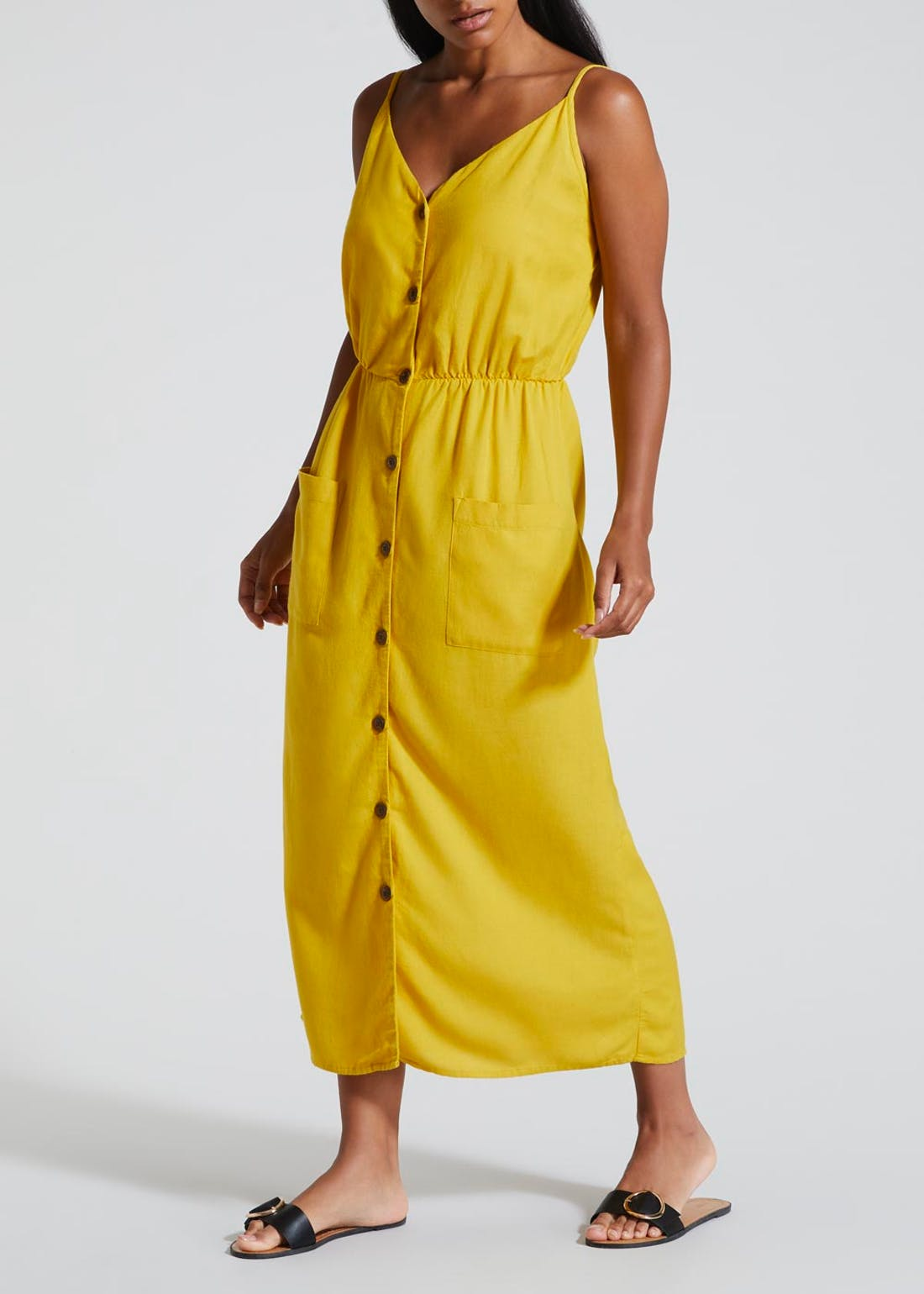 Button Front Cami Midi Dress