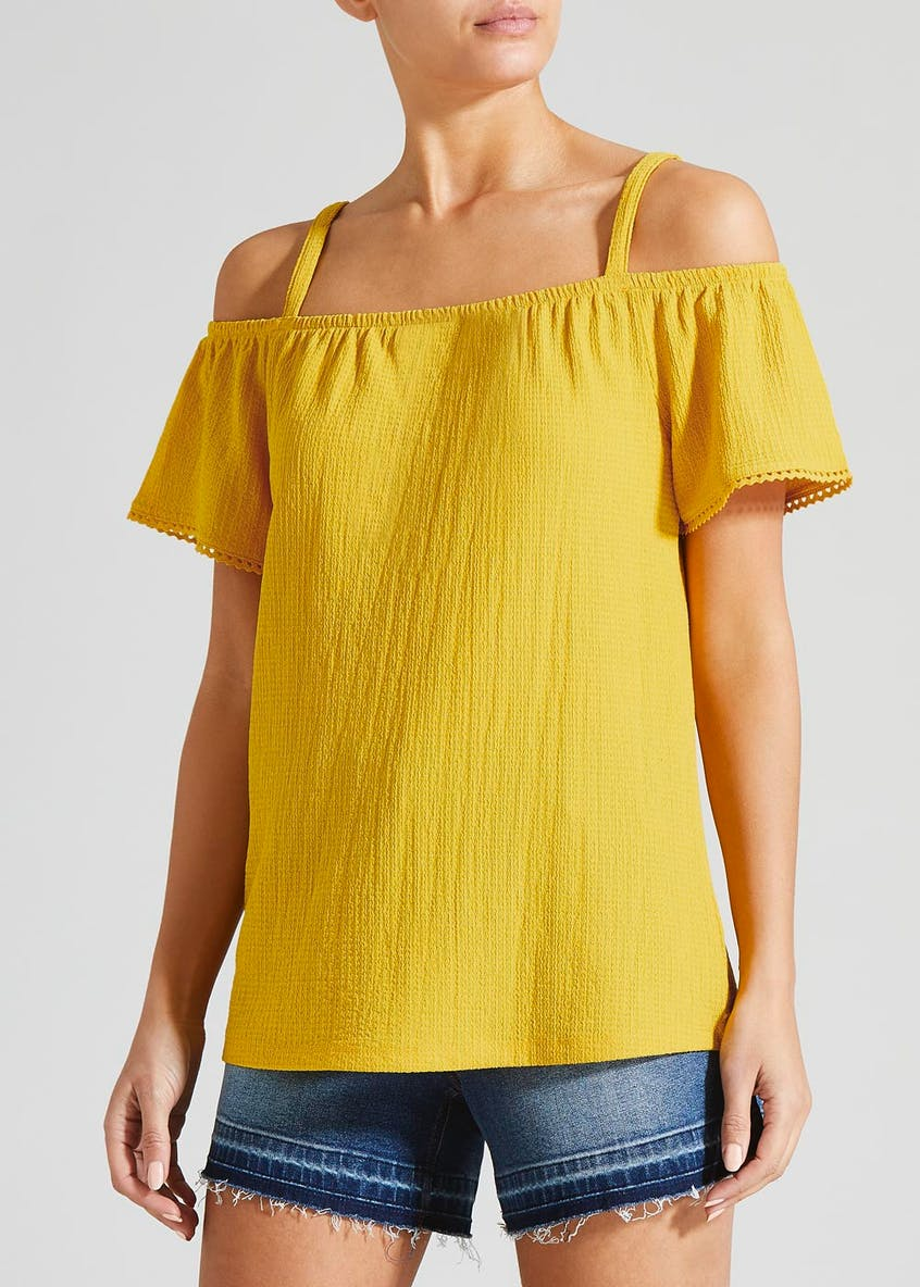 Papaya Petite Mini Lace Cold Shoulder Top