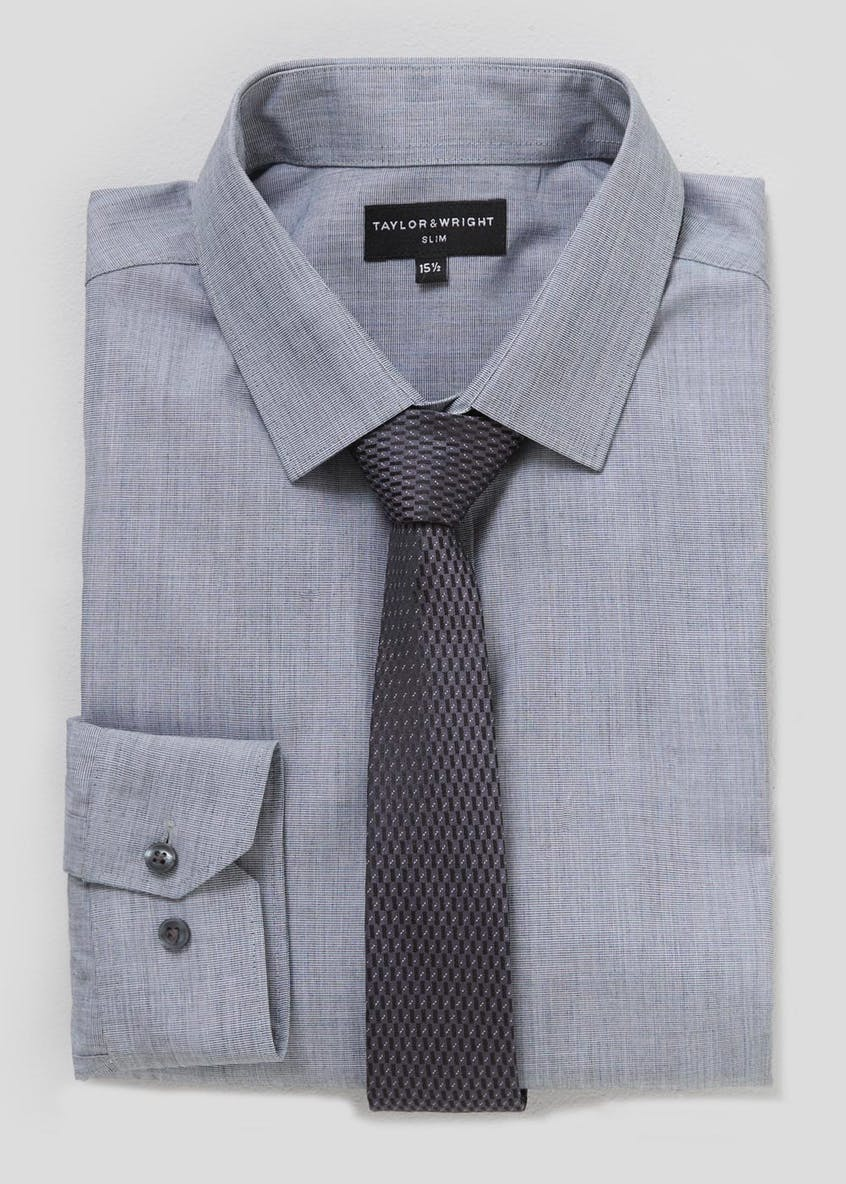 Taylor & Wright Slim Fit Long Sleeve Shirt & Tie Set