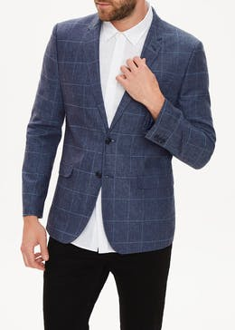 Langdon Linen Check Slim Fit Blazer