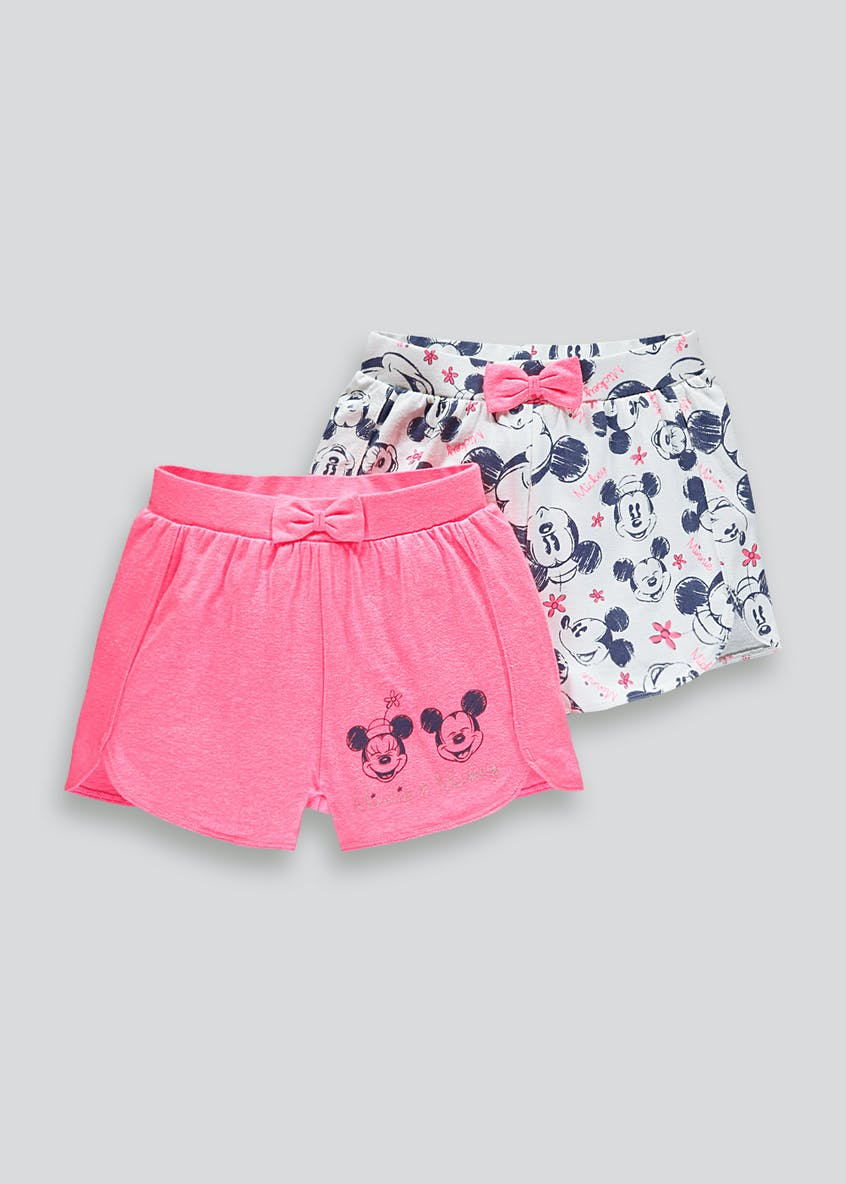 Kids 2 Pack Disney Minnie Mouse Shorts (9mths-7yrs)