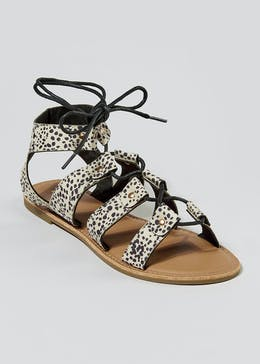 Animal Print Lace Up Ghillie Gladiator Sandals