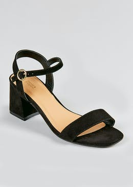 Wide Fit Black Block Heel Strappy Sandals