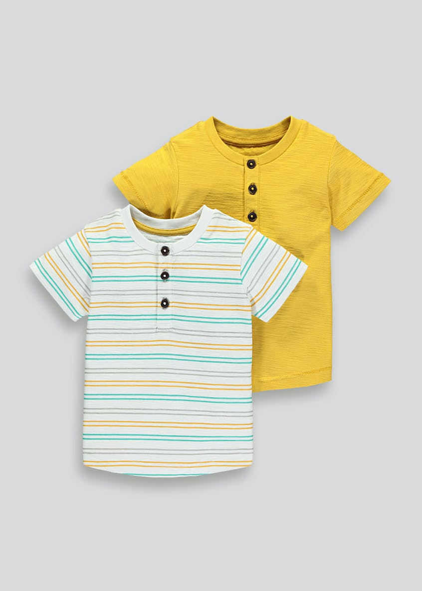 Boys 2 Pack Henley T-Shirts (9mths-6yrs)