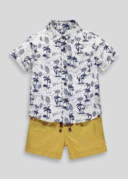 Boys Safari Print Shirt & Shorts Set (9mths-6yrs)
