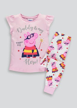 Girls Peppa Pig Daddy Slogan Pyjama Set (9mths-5yrs)