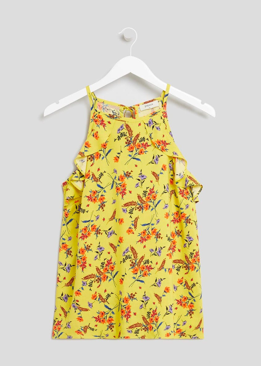 Yellow Floral Ruffle High Neck Cami Top