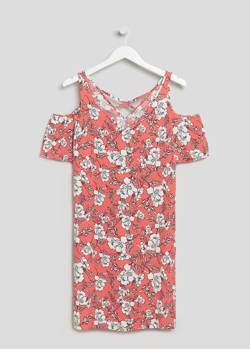 Floral Viscose Cold Shoulder Dress