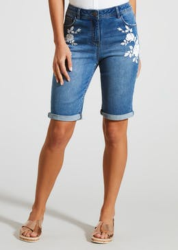 Embroidered Denim Knee Length Bermuda Shorts