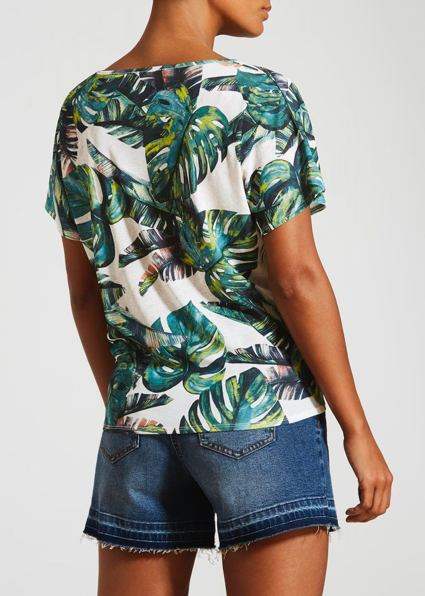 Palm Print Tie Front Top