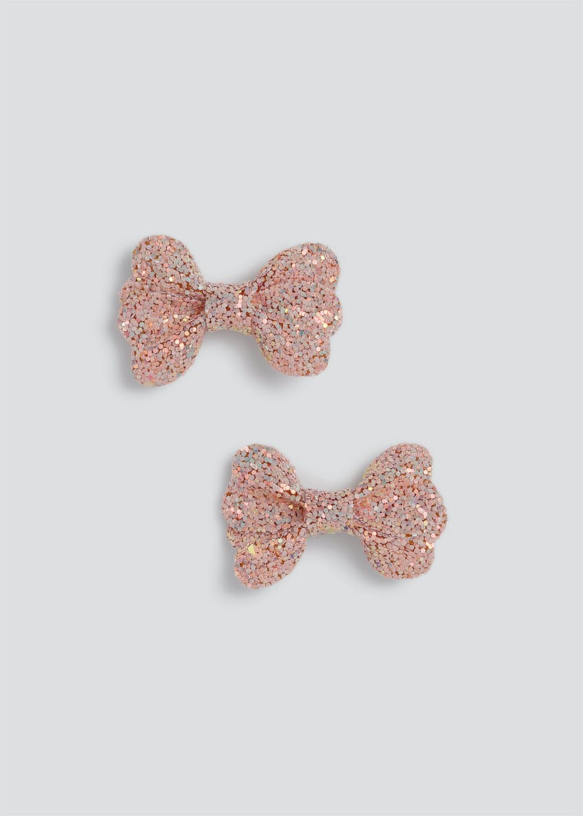 Girls 2 Pack Glitter Bows