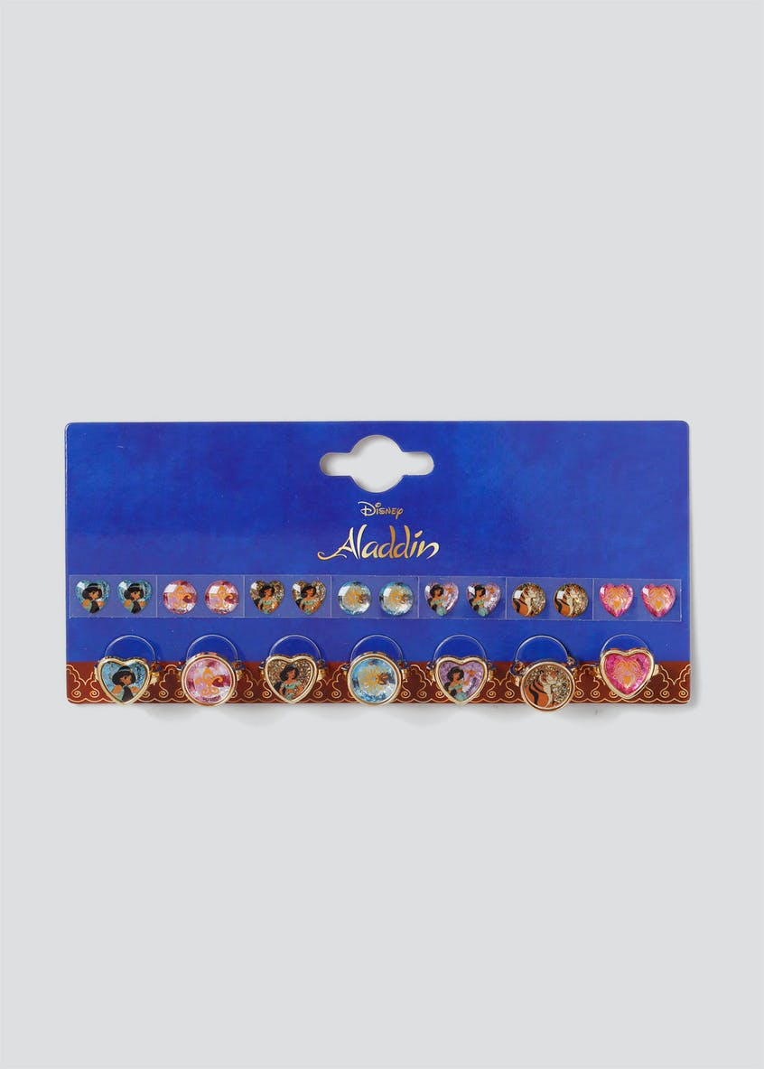 Girls Disney Aladdin Sticker Earring and Ring Set