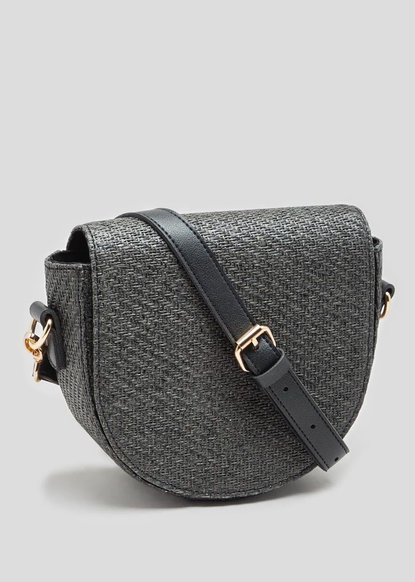 Flap Straw Cross-Body Bag