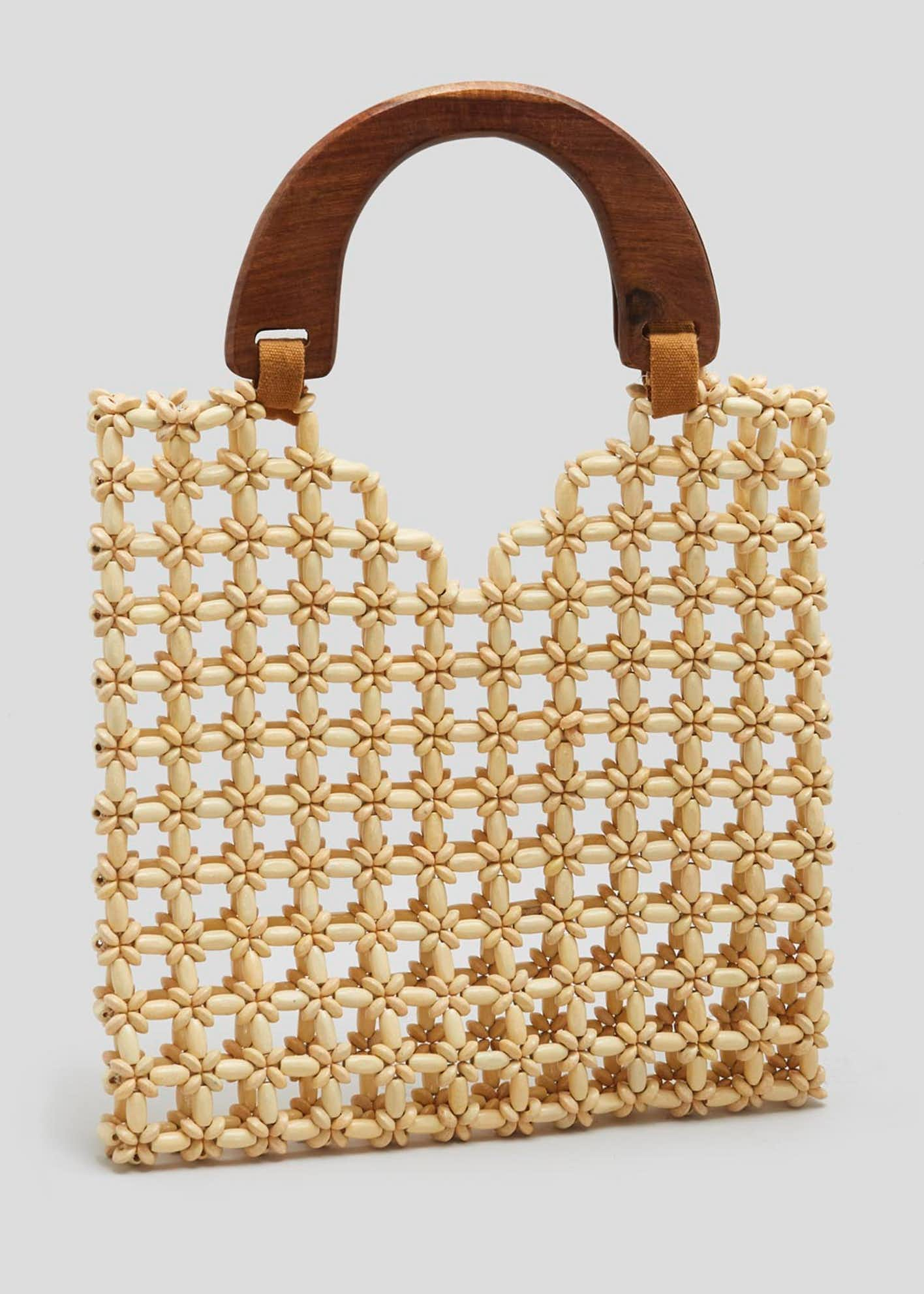Wooden Handle Beaded Bag