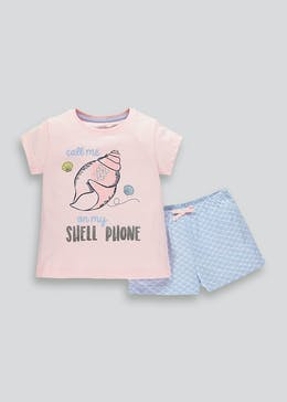 Girls Shell Phone Short Pyjama Set (4-13yrs)