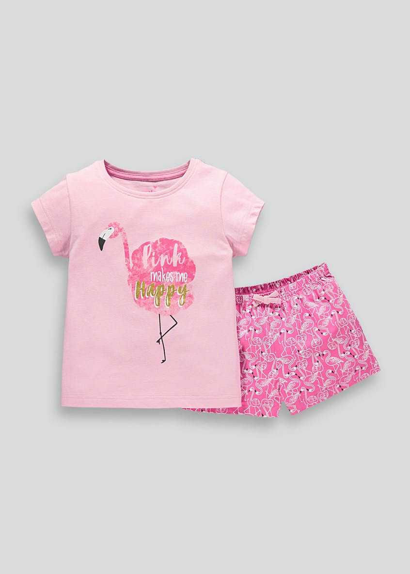 Girls Flamingo Print Short Pyjama Set (4-13yrs)