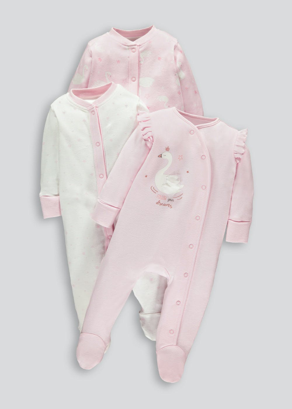 Unisex 3 Pack Swan Baby Grows (Tiny Baby-18mths) – Pink