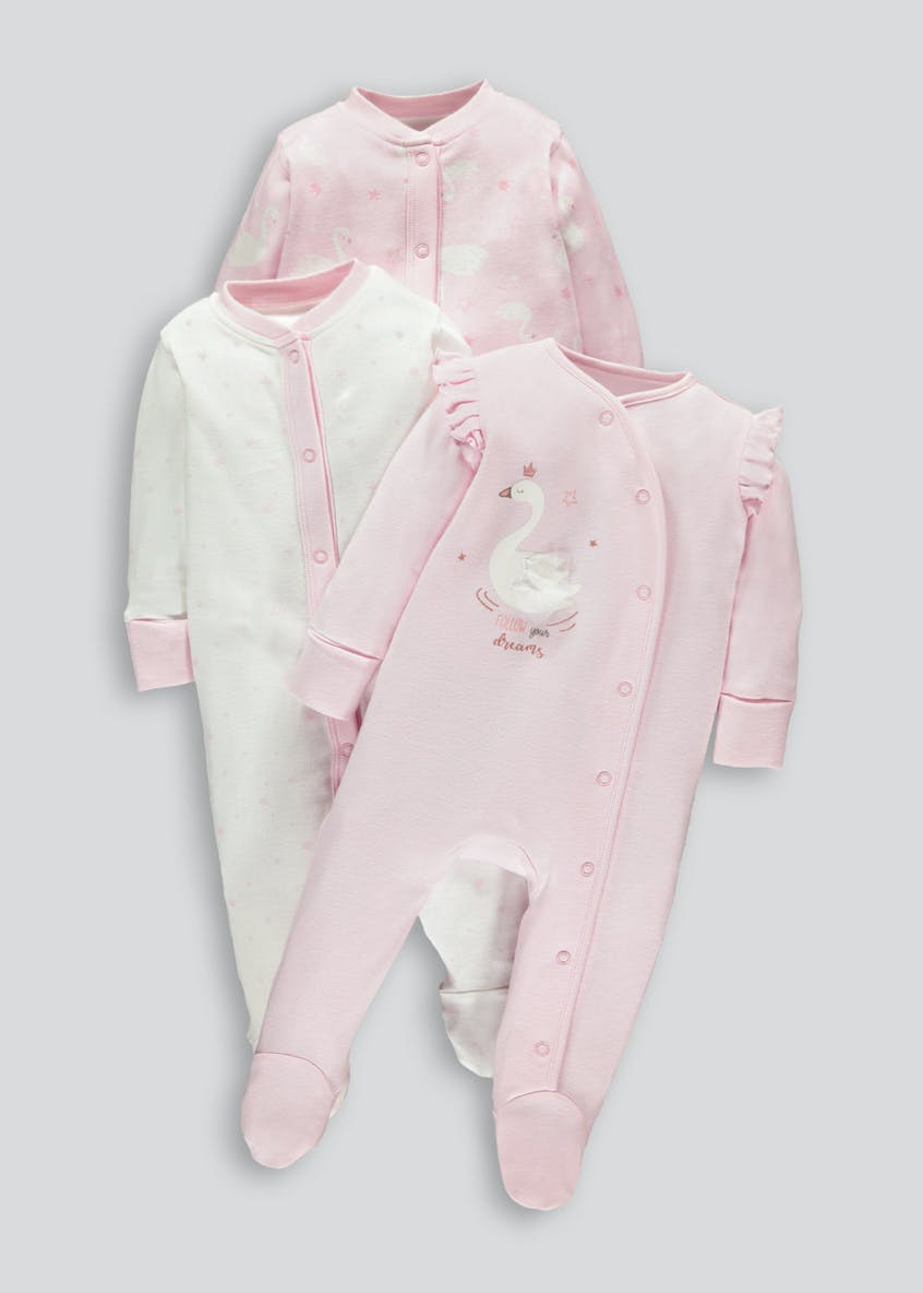 Unisex 3 Pack Swan Baby Grows (Tiny Baby-18mths)
