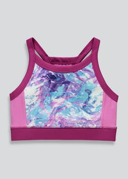 Girls Souluxe Marble Print Sports Crop Top (4-13yrs)