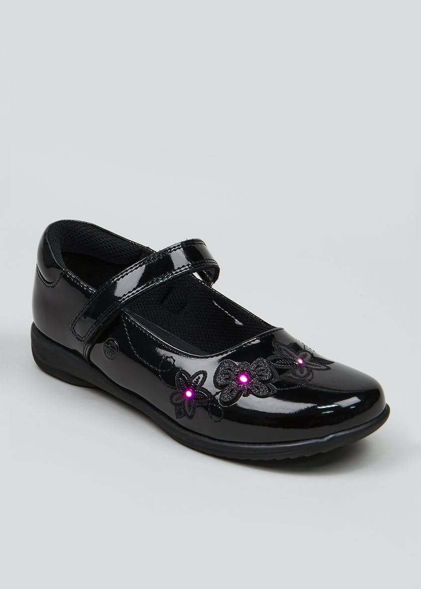 Girls Light Up Flower School Shoes