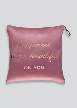 Velvet Happiness Slogan Cushion (46cm x 46cm)