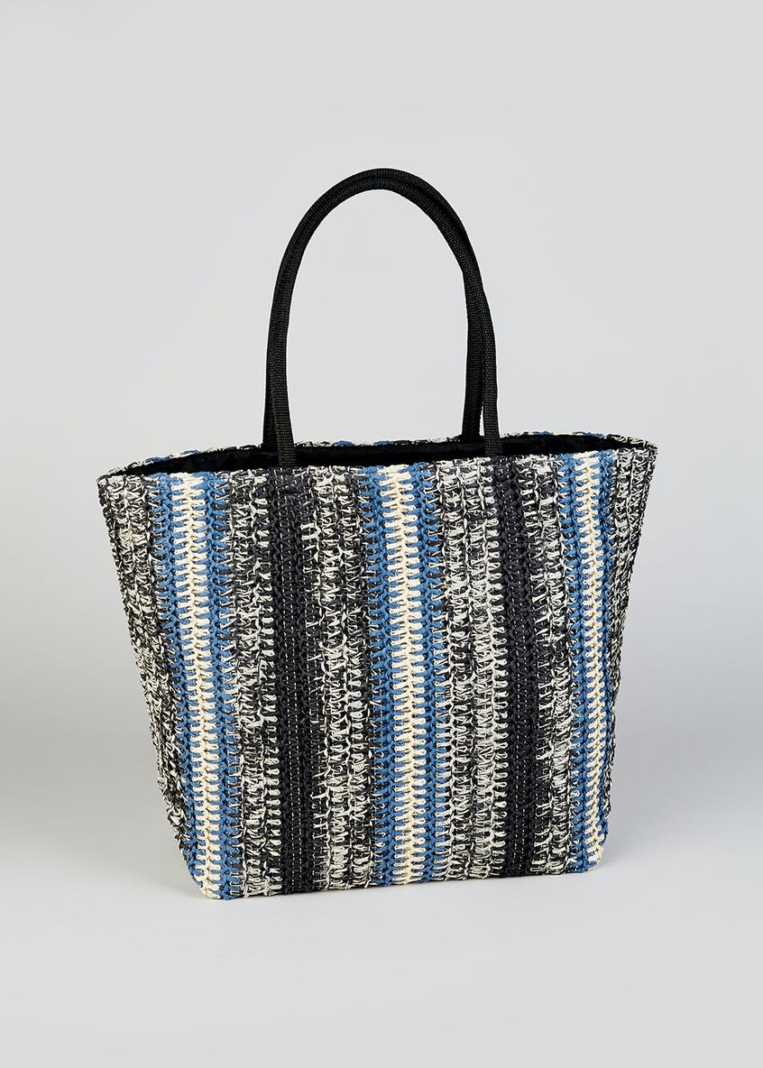 Stripe Straw Tote Bag