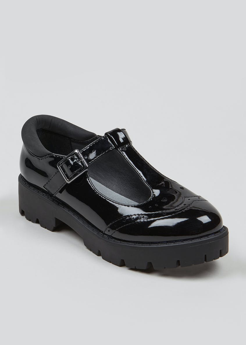 Girls Patent Chunky Cleated School Shoes (Younger 10-Older 5)
