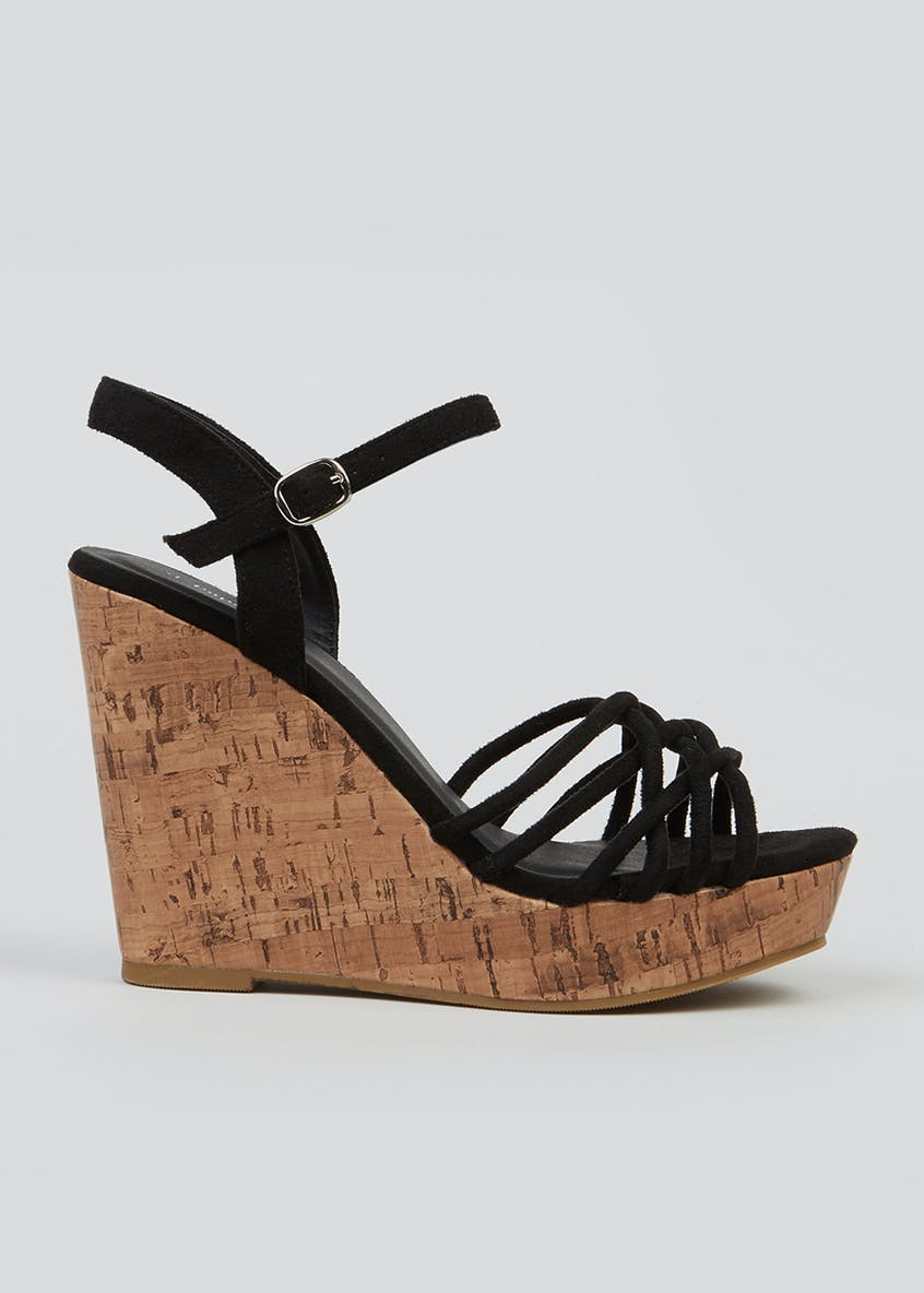 Strappy High Cork Wedges
