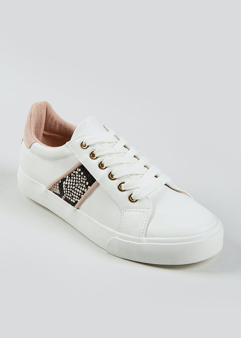 White Faux Snake Skin Panel Trainers