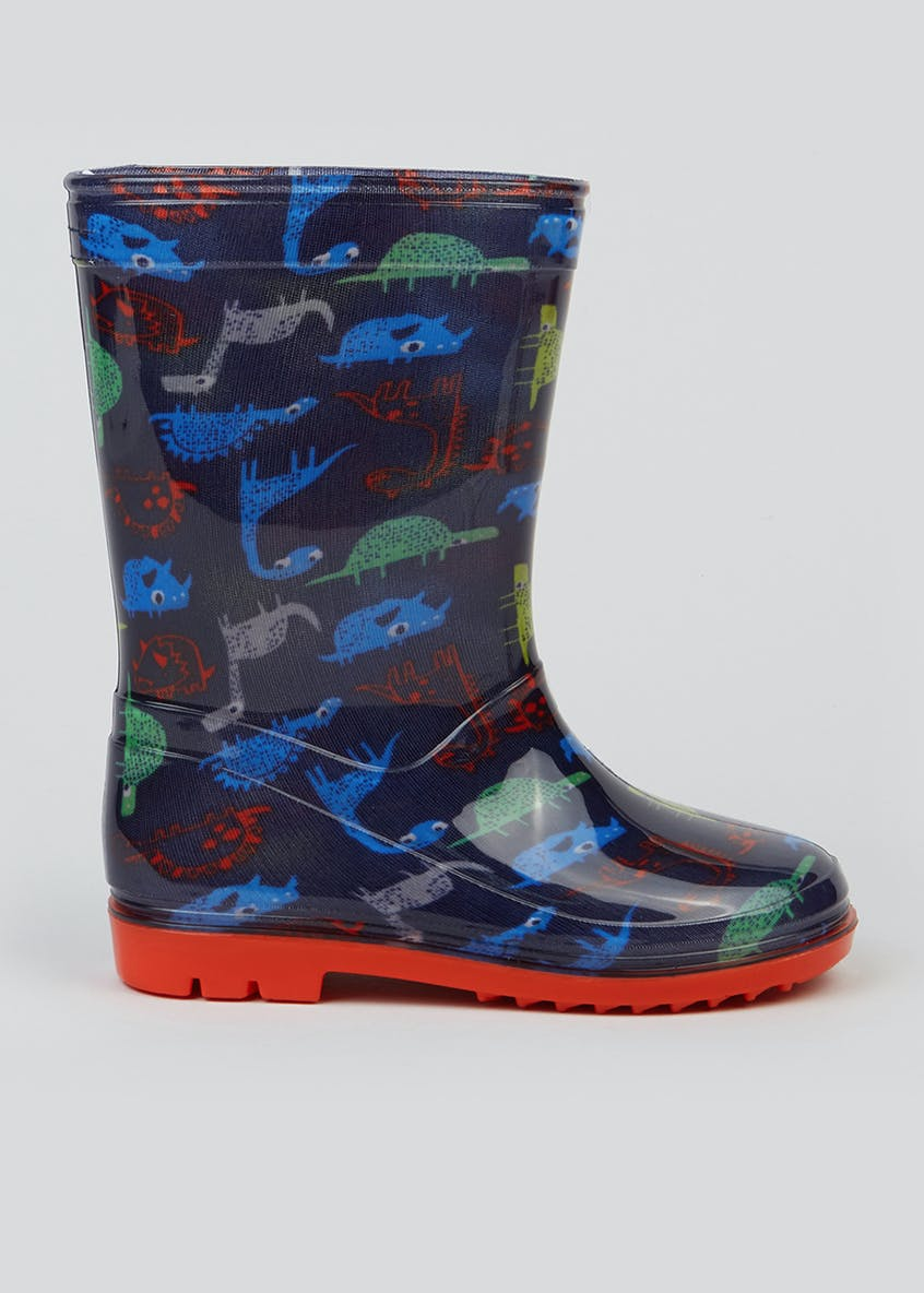 Kids Navy Dinosaur Wellies (Younger 4-12)