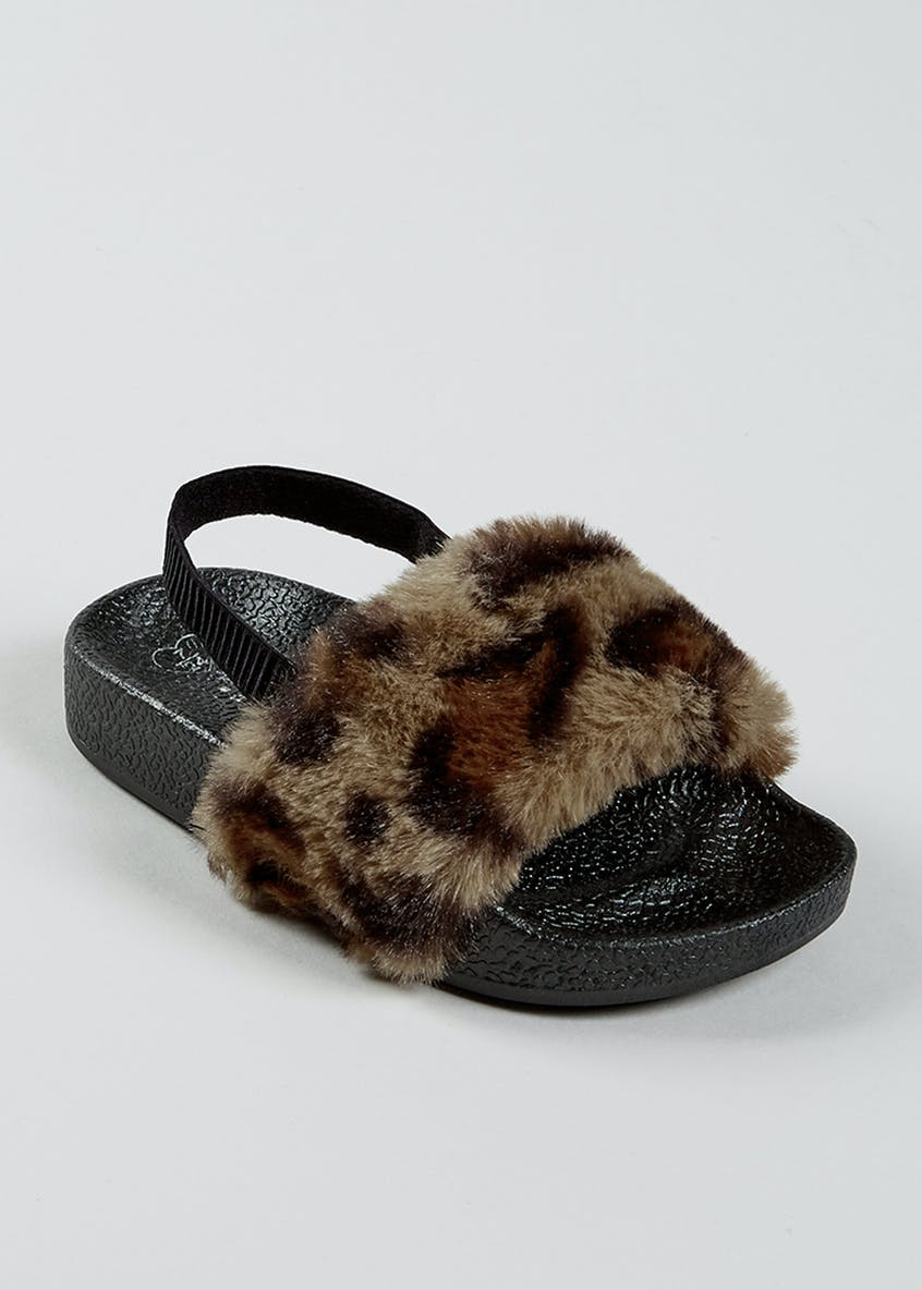 Girls Leopard Print Faux Fur Sliders (Younger 4-9)